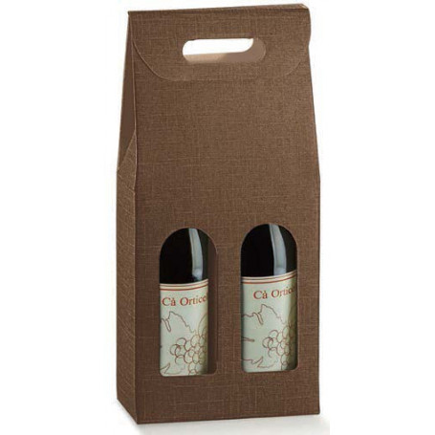 Astuccio 2 Bottiglia SETA MARRONE  (Scotton) 180x90x385