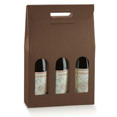 Astuccio 3 Bottiglia SETA MARRONE.  (Scotton) 270x90x385
