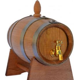 Botte  Lt. 2  in legno di Castagno Nuova con rubinetto in plastica complete di piedistallo e tappo