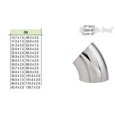 Curva a saldare 45°  25,4x2,0