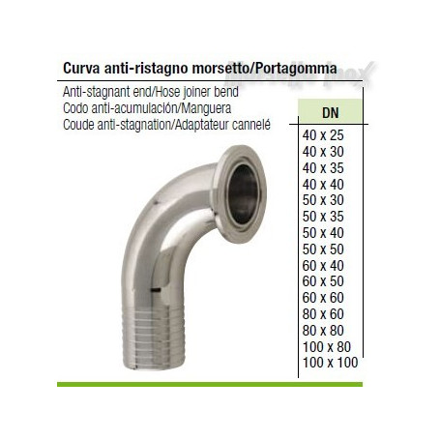 Curva Morsetto/portagomma antiristagno 40x35