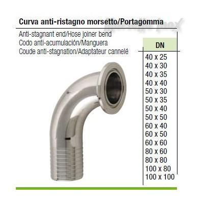 Curva Morsetto/portagomma antiristagno 50x50