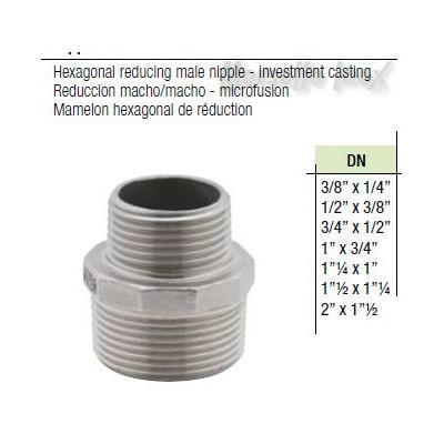 Nipplo ridotto microfuso Dn. 3/8x1/4