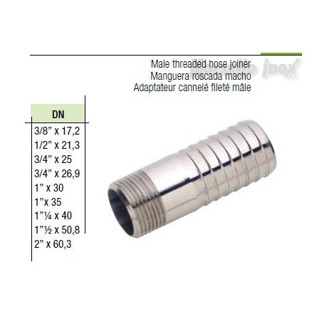 Portagomma filettato maschio gas  DN 11/4x42