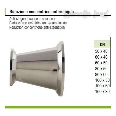 Riduzione  concentrica a mors anti ristagno 100x80