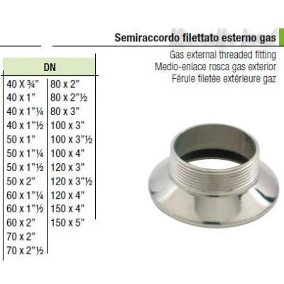 Semiraccordo filettato esterno gas 100x3