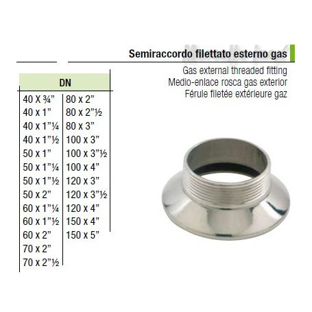 Semiraccordo filettato esterno gas 100x4