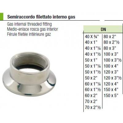 Semiraccordo filettato interno gas 40x1