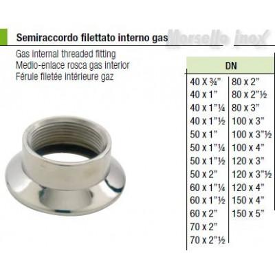 Semiraccordo filettato interno gas 80x3