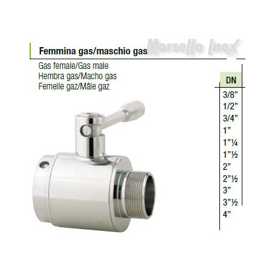 Valvola a sfera femmina gas maschio gas  DN 21/2 normal