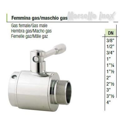 Valvola a sfera femmina gas maschio gas  DN 3/8 Plus