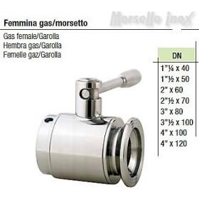 Valvola a sfera femmina gas morsetto Dn 4x120 normal