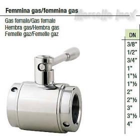 Valvola a sfera femmina gas/femmina gas DN 4 Plus
