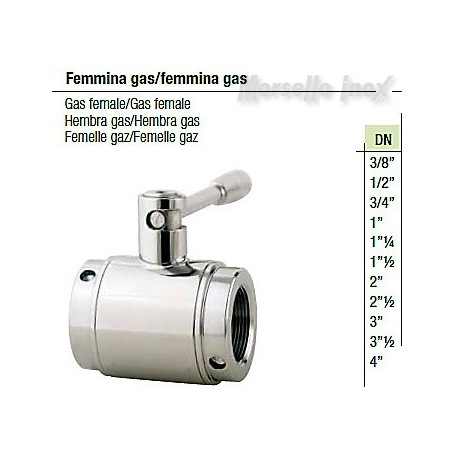 Valvola a sfera femmina gas/femmina gas DN 4 Plus