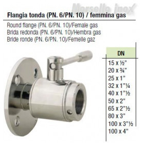 Valvola a sfera flangia PN10 femmina gas Dn 65x21/2  normal